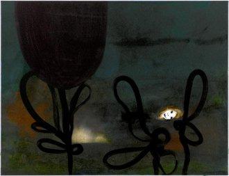 I det sorte hav 65 x 50 cm, akryl, spray og olie på lærred, 2006