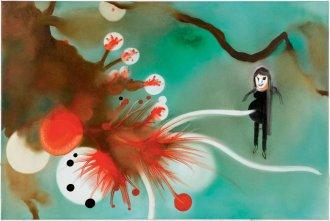 I det røde 60 x 90 cm, akryl og olie på lærred, 2006