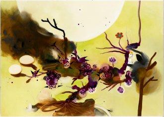 Udenfor, indeni 150 x 108 cm, akryl og olie på lærred, 2007