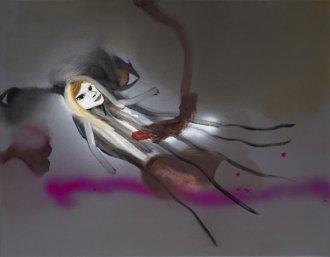 Hun sad fast 55 x 70 cm.akryl, spray og olie på lærred, 2009