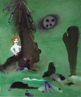 Hun rettede sig op 55 x 65 cm.akryl og olie på lærred, 2009