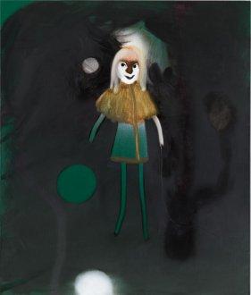 Fra mørket 60 x 70 cm akryl, spray og olie på lærred, 2008