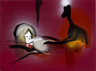 Hun var for ung og for gammel 60 x 45 cm. akryl, spray og olie på lærred, 2008