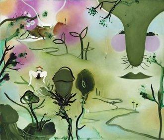 Hårene, læberne, landskabet 200 x 170 cm, olie på lærred, 2010