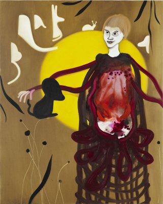 Hendes mave var en ovn som brændte verden 125 x 100 cm, akryl og olie på lærred, 2011