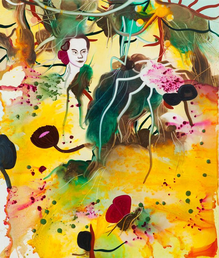 Han lytter med et sommerfugleøre 170 x 200 cm, akryl og olie på lærred, 2012-2013
