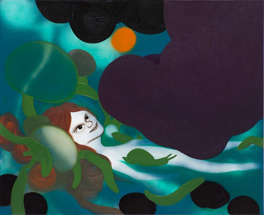 Hun venter på solen 55 x 45 cm, akryl, spray og olie på lærred, 2012