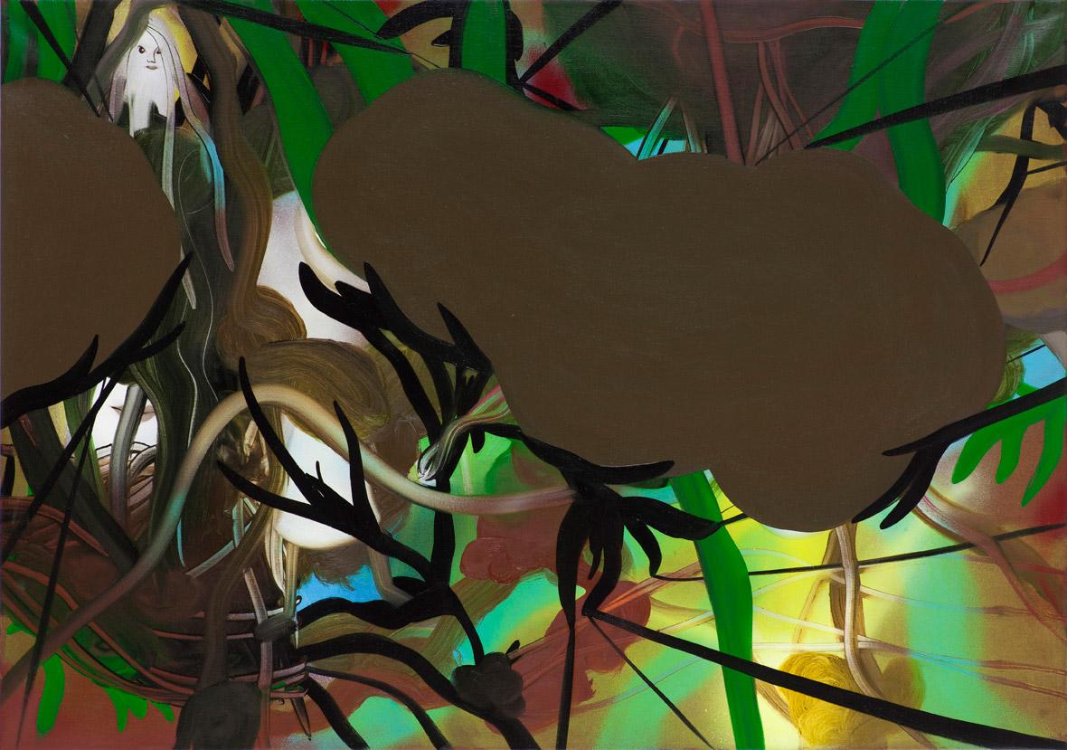 Lost and present 85 x 60 cm, akryl, spray og olie på lærred, 2012