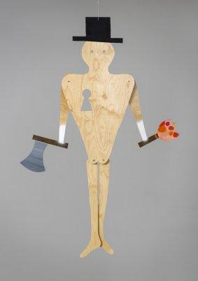 Hr. O ca. 180 x 125 cm, akryl, spray og olie på træ, skruer, snor, 2014