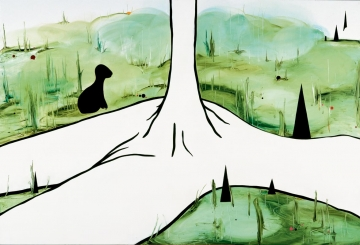 At the bottom of the forest lies the phallic mother, a tree grows from her stomach