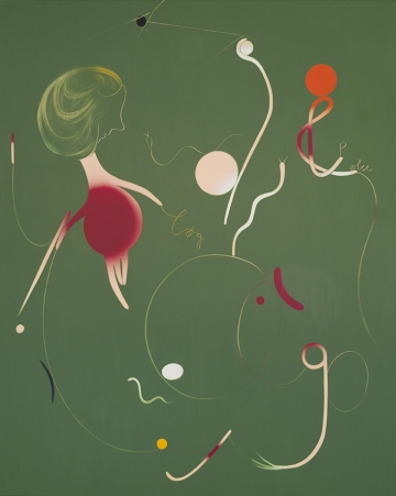 Onion, egg and sausage 250x200 cm, acrylic, spray and oil on canvas